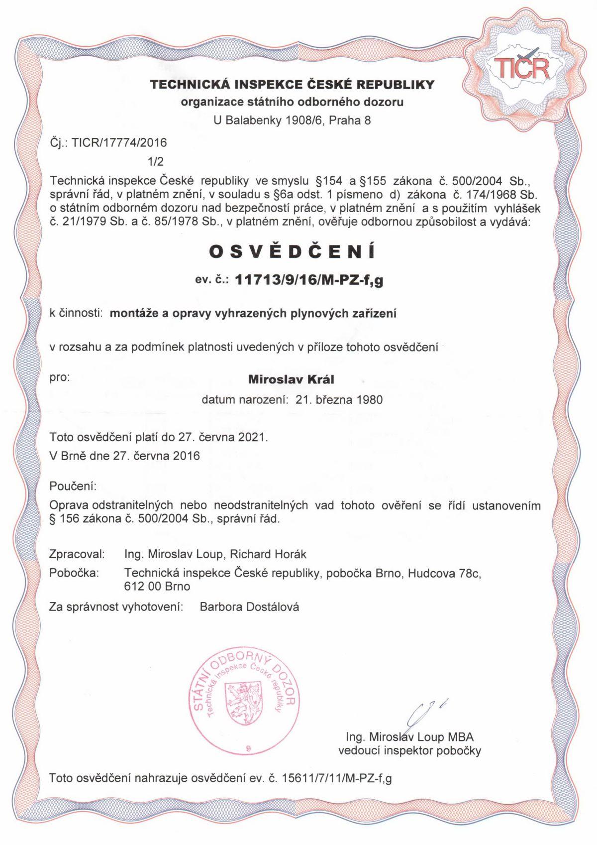 Certifikáty / Plynová zařízení 3
