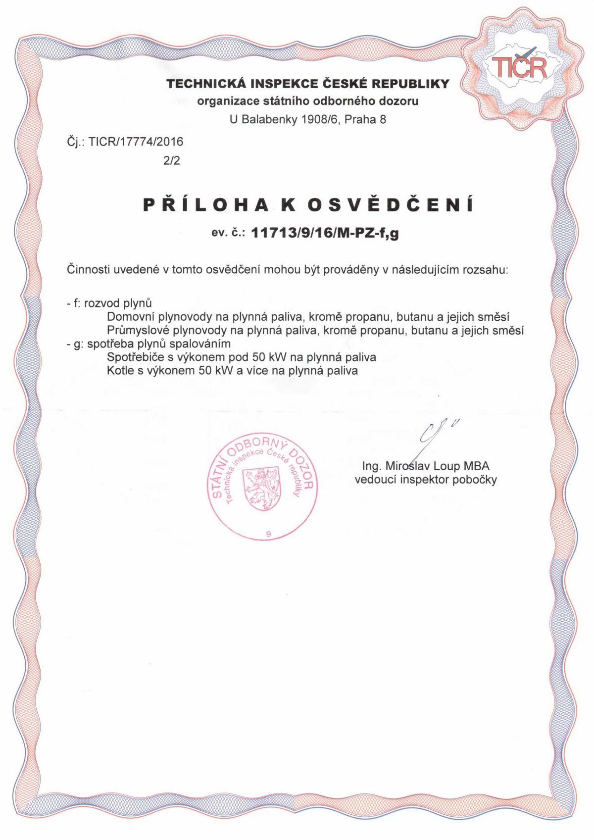 Certifikáty / Plynová zařízení 4